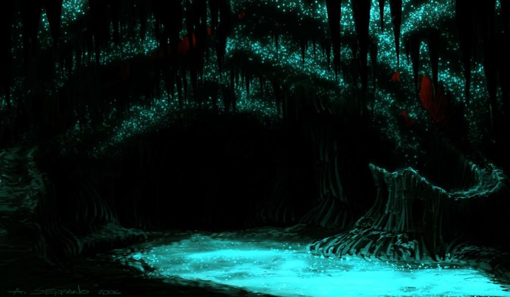土ホタルが光るワイトモ洞窟と光を反射する水
