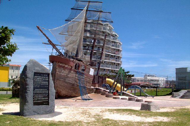 アラハビーチのイギリス帆船
