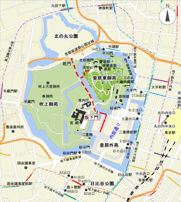 皇居「乾通り」秋の一般公開案内図