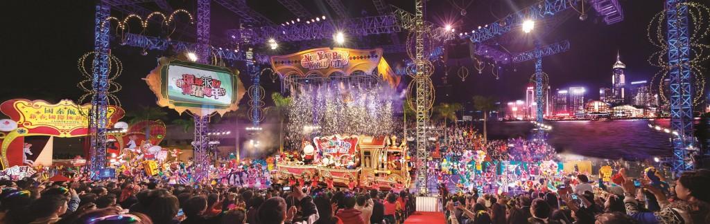 香港の旧正月ナイト・パレードの風景