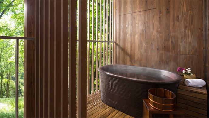 星野リゾート 界 鬼怒川の客室の露天風呂