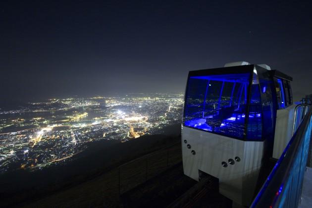 皿倉山とケーブルカー