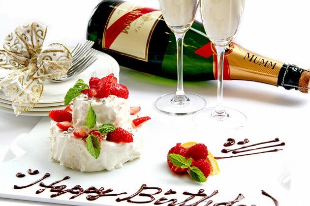 記念日にはシャンパーニュとケーキを