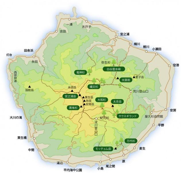 屋久島登山マップ